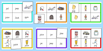 Initial j Sound Bingo and Lotto Game - sound, bingo, lotto, game
