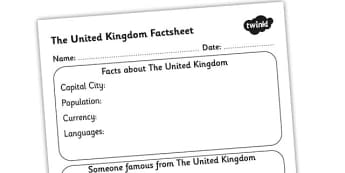 The United Kingdom Factsheet Writing Template - united kingdom, uk, united kingdom fact sheet, uk fact file, united kingdom worksheet, ks2 geography