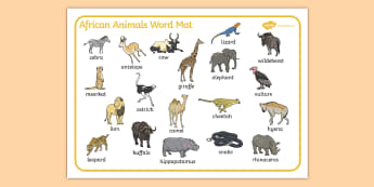 African Animals Word Mat - Africa, animals, Safari,  word mat, safari, lion, cheetah, puma, jaguar, rhino, hippo, elephant