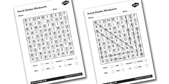 French Clothes Wordsearch - French, Clothes, Wordsearch, France