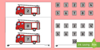 Fire Engine Themed Number Bonds to 10 Activity  - EYFS, KS1, Lost and Found, Oliver Jeffers, polar regions, penguins, making 10, Maths, number bonds,