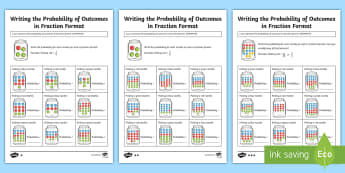 Writing the Probability of Outcomes in Fraction Format Differentiated Activity Sheets - ACMSP116,Chance, Chance Outcomes, Likelihood, Possible Outcomes, Year 5 Maths, Statistics And Probab