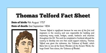 Scottish Significant Individuals Thomas Telford Fact Sheet - scottish, significant individuals, thomas telford