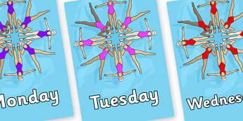 Days of the Week on Synchronised Swimming - Days of the Week, Weeks poster, week, display, poster, frieze, Days, Day, Monday, Tuesday, Wednesday, Thursday, Friday, Saturday, Sunday