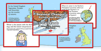 Seasonal Changes Autumn and Winter Fact Cards Polish Translation - polish, seasonal changes, autumn, winter, fact cards