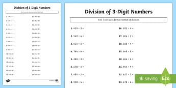 Division of 3-Digit Numbers Activity Sheet - maths, mathematics, numeracy, division, sharing, partitioning, number, place value, activity sheet,