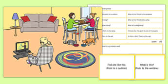 At Home Scene and Blanks Level 1 Questions - receptive language, expressive language, verbal reasoning, language delay, language disorder, comprehension, autism