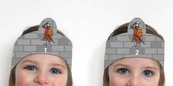 Soldier Themed Counting 1-10 Role-Play Headbands - Soldier Themed Counting 1-10 Role-Play Headbands - castles and knights, props, nigt, mediaeval, rol
