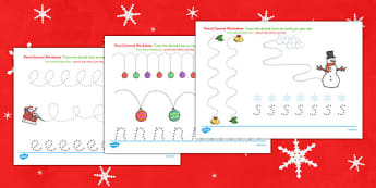 Christmas Pencil Control Worksheets Arabic Translation - arabic, christmas, pencil control, worksheets