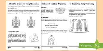 What to Expect on Holy Thursday Activity Sheets - NI, Easter, Catholic, Holy Thursday, Mass, washing feet, Eucharist,worksheets, religious, religion,