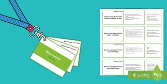 Lanyard Sized Year One Measurement Objectives Cards - year one, measurement, length, capacity, time, weight, Australia