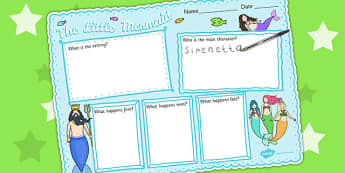 The Little Mermaid Story Review Writing Frame - writing aids