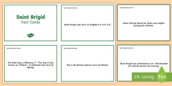 St.  Brigid Fact Cards - ROI St. Brigid's Day , bridget, Ireland,,Irish
