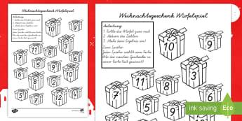 Weihnachtsgeschenk Würfelspiel: Addieren und Anmalen - Weihnachtsgeschenk Würfelspiel Addieren und Anmalen, Weihnachten, Weihnachtsmann, Weihnachtsgeschen