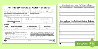 What Is a Proper Noun?: Proper Noun Alphabet Challenge Activity Sheet - nouns, proper nouns, what is a proper noun?, SPaG, GPS, English, literacy, words, capital letters, c