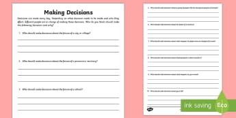 Making Decisions Activity Sheet - Uniquely Canadian, ethics, making decisions, power, leaders, community.