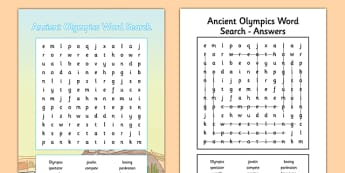 Ancient Olympics Word Search - ancient olympics, wordsearch, word search, activity