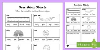 Describing Objects Activity Sheet - Worksheet, materials properties, observable properties, ACSSU003,