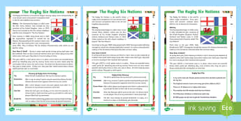 The Rugby Six Nations Differentiated Fact File - KS1 & KS2 Rugby Six Nations  (4th February 2017), 6 nations, six nations, rugby, rugby union