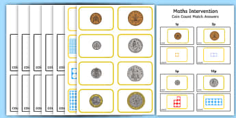 Maths Intervention Coin Count Matching - SEN, special needs, maths, money, counting money, recognising money, adding money, coins, notes