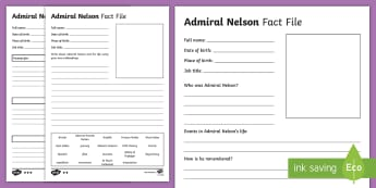Admiral Nelson Differentiated Fact File Activity Sheets - Admiral Nelson, KS2, year 3, year 4, facts, research, fact file, template, Battle of Trafalgar, Hora