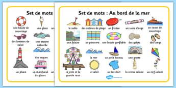 Set de mots: Au bord de la mer Seaside Word Mat French - french, Writing aid, Under the sea, sea, seaside, topic, water, tide, waves, sand, beach, sea, sun, holiday, coast