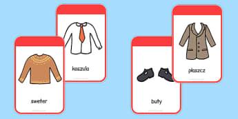 Karty ze słownictwem Ubrania po polsku - odzież, przedszkole