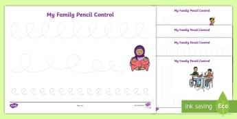 My Family Pencil Control Activity Sheets - worksheets, fine motor, pre-writing, kindergarten, preschool, nursery, reception, pre-primary, prep,