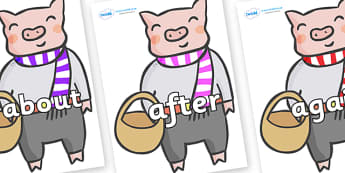 KS1 Keywords on Little Piggy - KS1, CLL, Communication language and literacy, Display, Key words, high frequency words, foundation stage literacy, DfES Letters and Sounds, Letters and Sounds, spelling