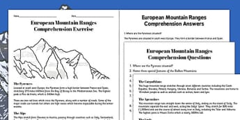 European Mountain Ranges Reading Comprehension Activity - mountains