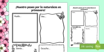 Our Spring Nature Walk Writing Frame - Spring, KS2, Spanish, MFL, nature, walk, writing, frame, Days, Weeks, Months, Seasons