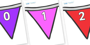 Numbers 0-50 on Bunting  (Multicolour) - 0-50, foundation stage numeracy, Number recognition, Number flashcards, counting, number frieze, Display numbers, number posters