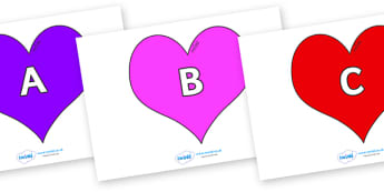 A-Z Alphabet on Hearts (Multicolour) - A-Z, A4, display, Alphabet frieze, Display letters, Letter posters, A-Z letters, Alphabet flashcards