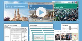 Introduction to Shi'a Islam Lesson Pack - shi'a islam, ashura, caliph, Imam Ali, prophet muhammad, husayn, matryr, beginnings of islam.