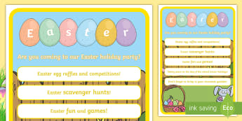 Easter Class Party Display Poster - ROI, Easter, Class Poster, English, Classroom, Sign, party, editable, invite, display, Ireland, Iris