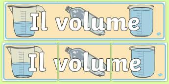 Il volume Striscione - volume, striscione, il, liquido, liquidi, matematica, contenitori, fisica, materiale, scolastico, pi
