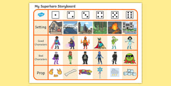 Superhero Story Telling Prompt Dice Game - Fairytale Story Telling Prompt Dice Game - dice game, dice, playing with dice, story telling, litera