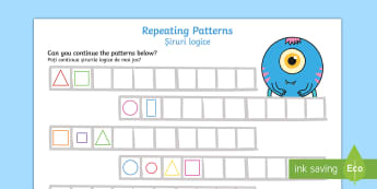 Shapes Repeating Pattern Activity Sheets English/Romanian - shape, patterns, EAL, worksheet, recognition, sequence, romanian,