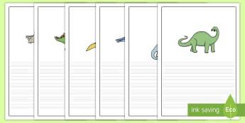 Dinosaurier Schreibvorlage - Dinosaurier Schreibvorlage, Schreibvorlage, Geschichte Schreibvorlage, Illustrierte Schreibvorlage,