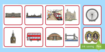 London Matching Cards - London Word Cards - london, word, cards, word cards, britain, the queen, parliament, london game