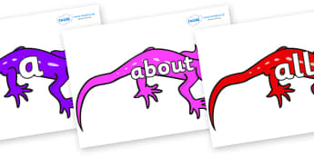 100 High Frequency Words on Geckos - High frequency words, hfw, DfES Letters and Sounds, Letters and Sounds, display words
