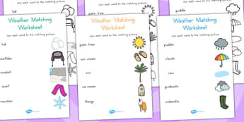 Winter Word and Picture Matching Worksheet Temperate - matching