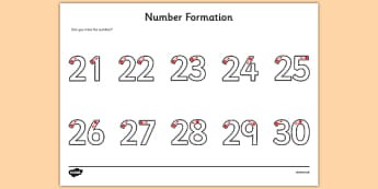 Number Formation Activity Sheet 21-30 - number formation, activity sheet, activity, number, formation, 21-30, worksheet