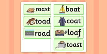 Oa Sound Word Cards - oa sound, word cards, word, cards, sound