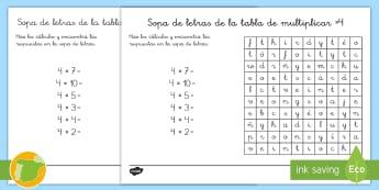Ficha de actividad: Sopa de letras - Tabla de multiplicar ×4 - multiplicar, multiplicación, x4, cuatro en cuatro, cuatro por cuatro, cuatro, múltiplos, sopa de l
