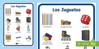 Toys Display Poster - Spanish, KS2, toys, display, poster, classroom