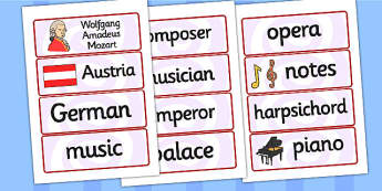 Wolfgang Amadeus Mozart Word Cards - mozart, word cards, cards