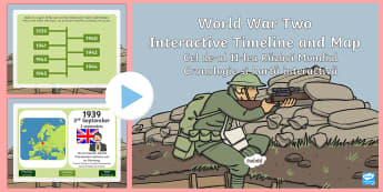 World War Two Interactive Timeline and Map PowerPoint English/Romanian - World War Two Interactive Timeline and Map Powerpoint - world war two timeline, world war 2 timeline