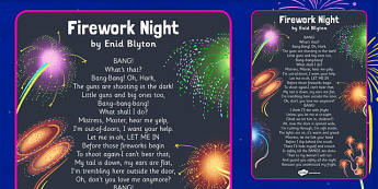 Firework Night by Enid Blyton Poem - fireworks, november, 5th, fifth, poem, colour, noise, writing, english, fiction, key stage 2, ks2, ks1, display, retell