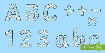 Display Lettering & Symbols (Water) - Display lettering, water, display letters, alphabet display, letters to cut out, letters for displays, coloured letters, coloured display, coloured alphabet